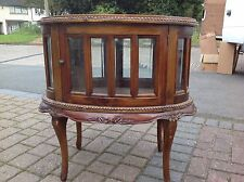 Vintage French Oval Drinks Display Cabinet Double Door