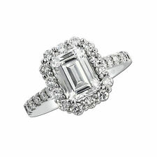 Emerald Cut 2.55Ct Diamond Engagement Rings 14kt  White Gold Size N VVS1 3010