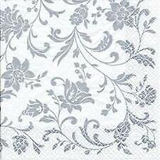 Arabesque/Damask White with Silver Print Paper Beverage Napkins x 20