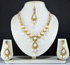Indian Jewelry Bollywood New Women Necklace Set Ethnic Crystal gold Pendant Cz r