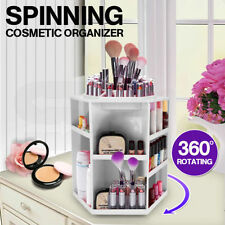 360 Degree Spin Cosmetic Makeup Organizer Box Storage Rack Case WHITE