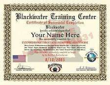 BLACKWATER Sniper Training Certificate / Diploma Prop CUSTOM With Your Name/Date