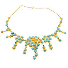 Vintage 18K Yellow Gold Turquoise Stone Statement Necklace