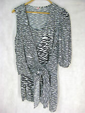 SASS AND BIDE Feather wrap Size 6 Black and White designer dress