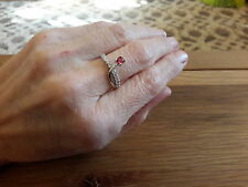 BRAND NEW 18mm WHITE GOLD FILLED RING WITH RUBY AND  DIAMOND  LOOK STONES SIZE O