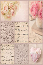 STUNNING SHABBY CHIC FABRIC HEARTS CANVAS #645 QUALITY FLORAL PICTURE WALL ART