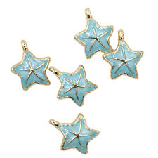 5pcs Blue Enamel Gold Plated Sea Star Alloy Pendants Charms Lovely Findings BS