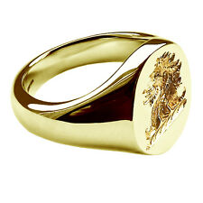 18ct 750 Yellow Gold Family Crest Signet Ring 16x13mm 19.3g NEW