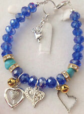 "Bijoux Heart Charms Blue Crystal Beaded 7.75"" Bracelet"