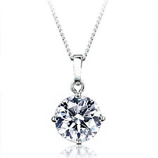18K White GOLD GF Wedding Solitaire SWAROVSKI 10mm Lab DIAMOND NECKLACE SX450
