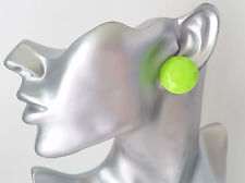 """Gorgeous 1""""  large neon green facetted patterned button style stud earrings"""