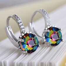 Women Fashion 925 Silver Rainbow Topaz Crystal Stud Earring Wedding Jewelry