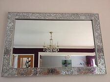 Crackle mirror mosaic Beveled Edge Silver Frame large Glass 90X60cm lounge wall