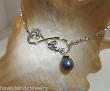 Hawaiian Rhodium STER Silver Turtle Infinity Love FW Peacock Pearl Anklet 9-11""