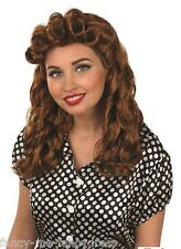 Ladies 1940s 1950s Vintage Brown Curly Wig Fancy Dress Costume Outfit Accessory