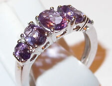 5-stone Amethyst ring (1.50ct) in platinum bond, Size N.