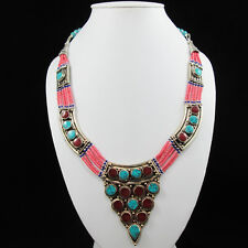 Tibetan silver charms Ethnic Handmade Turquoise Stone Necklace Tribal jewelry !