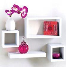 Modern set of 4 Floating Wall Storage Display Unit Cubes Shelves - White