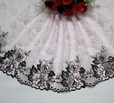 """7.5""""* 1yard Embroidered Tulle Lace Trim Sewing~Black~Baby Pink"""
