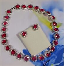 Sparkling, Hot Pink Crystal & Cubic Zirconia Necklace & Earrings (2581)