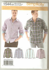 Simplicity Sewing Pattern 1544 Men's Long Sleeve Shirts With Back Yoke Sz 34-42