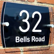 MODERN HOUSE SIGN PLAQUE DOOR NUMBER BLACK ACRYLIC  GLASS EFFECT NAME BL01