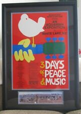 Framed Original 1969 Woodstock Poster & Unframed Ticket W/ Photos & Certificates