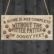 Hand Made Pitter Patter of Doggy Feet Dog Owner Home Pet Wooden Plaque Cute Gift