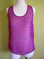 Ladies Womens Purple Chiffon and Lace Loose Cami Tank Top Hot Options Size 8