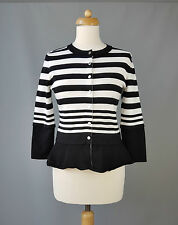Karen Millen cardigan peplum striped black white Size 3 UK 12