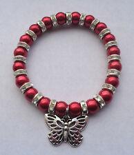 Red Glass Pearl & Diamante Elastic Bracelet / Tibetan Silver Butterfly Charm NEW