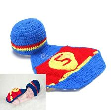 Newborn Baby Superman Crochet Knit Hat Costume Photo Photography Prop Outfits