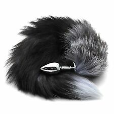 New faux fur fox cat tail Roleplay with silver Metal  plug For Adult Fancy Dress