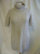 Ladies Jumper - TU, size 8, beige, cable knit, longer length, polo neck - 7701