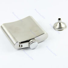 New Stainless Steel 6oz  Liquor Alcohol Party Drink Hip Flask + Funnel