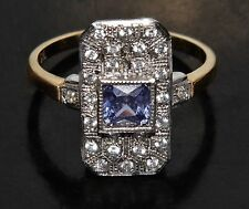 """9ct Yellow Gold on Silver Ceylon Sapphire """"Victorian Design"""" Cluster Ring size N"""