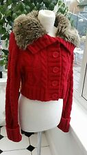 Pineapple Chunky Knit Cardigan, Red with Faux Fur Collar VGC Size 12-14