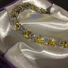 "White Gold Fill Bracelet, Oval Citrine, Sim Diamonds, 18cm/7"" Gift Boxed Plum UK"