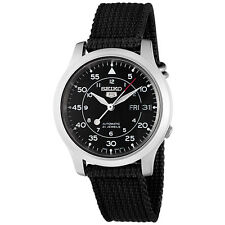 Seiko 5 SNK809 K2 Automatic Black Nylon Canvas Strap Men's Watch with Seiko Box