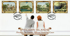 Pitcairn Islands 2015 FDC Pitcairn on Canvas 4v Set Cover Paintings Art Ships