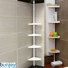 4 Tier Adjustable Telescopic Bathroom Corner Shower Shelf Rack Caddy Organiser