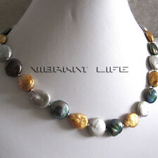 """18"""" 13-15mm Gold Gray Peacock Coin Freshwater Pearl Necklace U"""