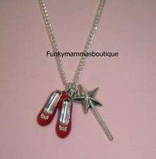 WiZaRD OF Oz ReD RuBy SHOeS & WaND CHaRM NeCKLaCe iN GiFT BaG