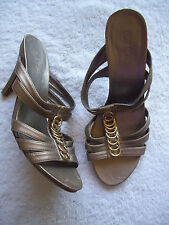 Ladies Target Gold Stiletto Strappy Shoes Size 7 GUC