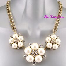 Victorian Vintage Style Chic Bridal Floral Flower Pearl Corsage Crystal Necklace