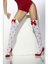 Ladies White Hold Up Stockings With Hearts Snow Princess Fancy Dress