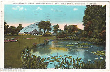 AK Post Card US USA Chicago Lincoln Park Conservatory Lily Pond gelaufen 1930