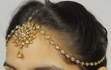 MP- 35 Indian Goldtone Matha Patti Head Chain Maang Tikka Hair Accessory Jewelry