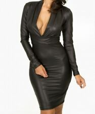 BLACK DRESS PLUNGING MINI BODYCON WET PVC LEATHER LOOK CLUBWEAR SIZE 12 14