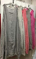 Ladies Plus Size Quirky Boho Lagenlook Linen Stripe Balloon Shaped Dress 50""